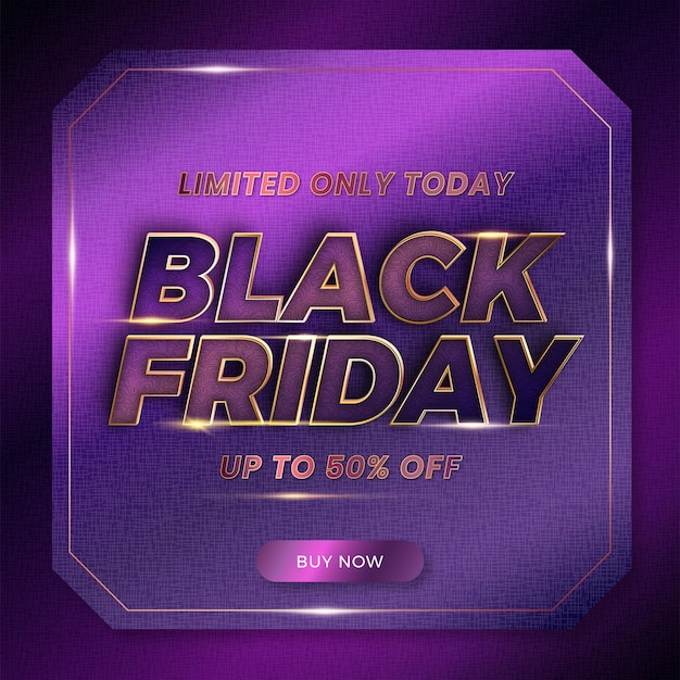 Black friday con il concetto di colore oro viola di lusso in metallo a tema effetto testo per il mercato alla moda di promozione di modelli di banner e flayer online