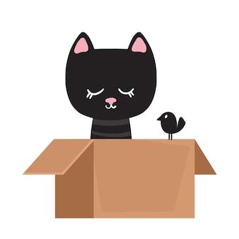 Il gatto soriano divertente nero è seduto in una scatola con un uccello. illustrazione vettoriale in stile piatto cartone animato divertente