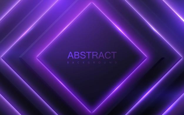 Forme geometriche nere con luce al neon incandescente