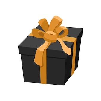 Scatola regalo nera con nastro dorato e fiocco in raso, regalo di lusso per la vendita del black friday, simbolo di festa decorativa festiva di natale. illustrazione in stile cartone animato piatto, isolato su sfondo bianco