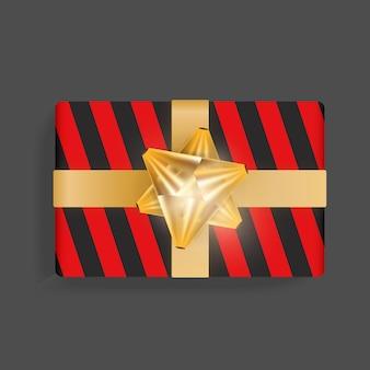 Confezione regalo nera con strisce rosse. fiocco in nastro d'oro. bellissimo modello di scatola regalo realistico per compleanno, natale, design di capodanno. illustrazione vettoriale vista dall'alto