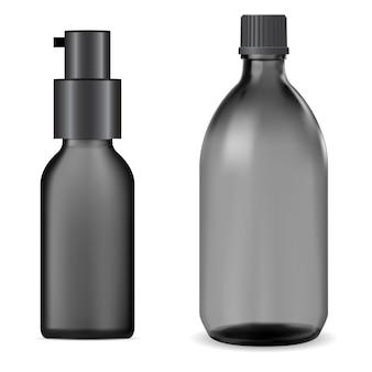 Bottiglia in vetro nero. barattolo di sciroppo, fiaschetta di vitamina liquida, essenza di olio.