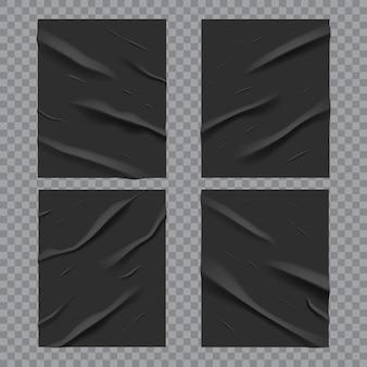 Poster bagnati incollati neri con texture di carta stropicciata e stropicciata