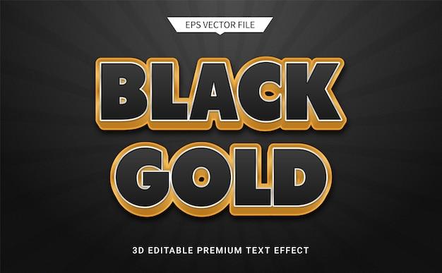 Nero oro 3d effetto stile testo modificabile vettore premium