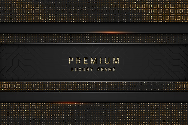 Cornice di lusso titolo astratto nero e oro. paillettes scintillanti su sfondo nero. etichetta linea orizzontale