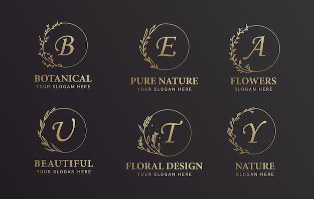 Insieme di disegno di logo botanico e fiore alfabeto nero e oro
