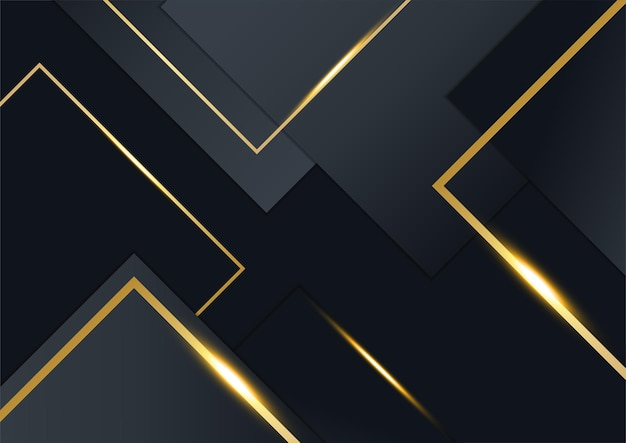 Sfondo nero e oro per modello di progettazione di presentazione aziendale con concetto aziendale premium elegante di lusso