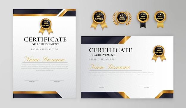 Distintivi di confine certificato nero e oro per modello di business e diploma