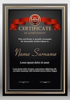 Modello di design certificato nero e oro con premio bage