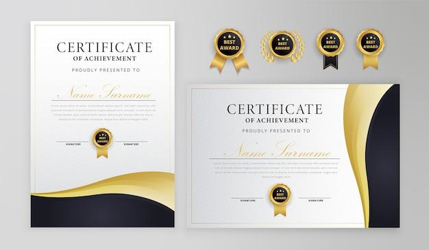 Modello di certificato nero e oro con medaglie