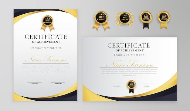 Certificato nero e oro con badge e bordo per modello di business e diploma