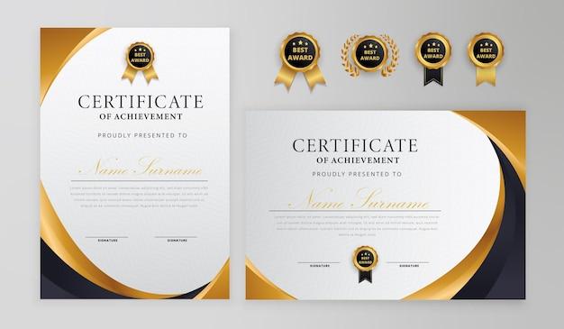 Certificato nero e oro con badge