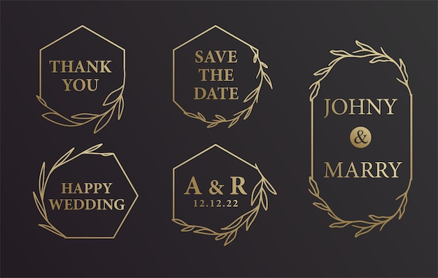 Fondo dell'invito di nome dello sposo della sposa di nozze della corona disegnata a mano nera e dell'oro