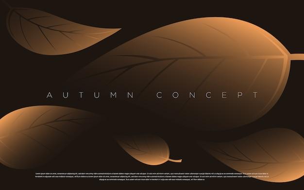 Illustrazione del modello delle foglie del lusso dell'oro e del nero. elegante elemento geometrico autunnale per intestazione, carta, invito, poster, copertina e altri progetti web e di stampa