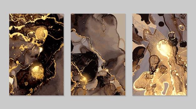 Trame astratte in marmo nero e oro