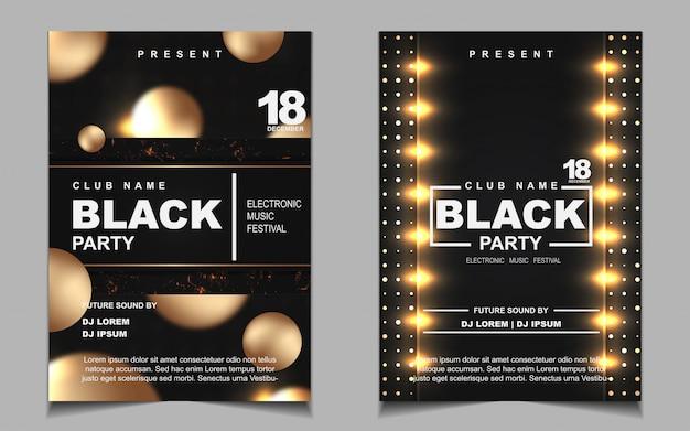 Volantino di musica da ballo di notte nera e oro o poster design