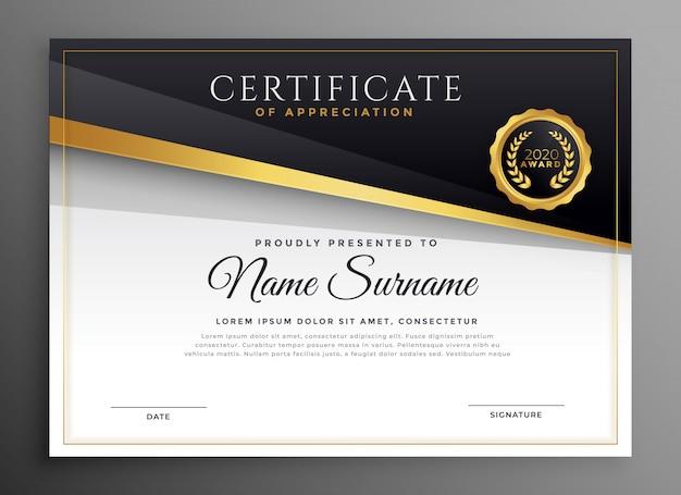 Certificato premio oro nero di apprezzamento