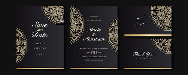 Set di modelli di invito a nozze nero e oro. insieme astratto del fondo di disegno floreale. carta da parati di lusso in stile moderno con fiori d'arte e foglie botaniche, forme organiche