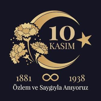 Giornata commemorativa di atatürk nera e dorata