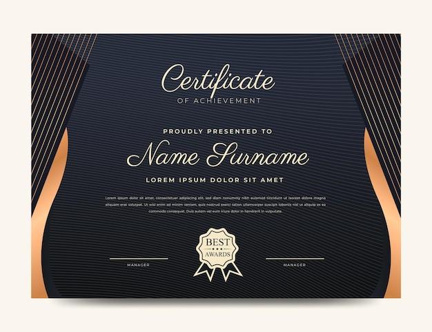 Certificato di lusso dorato nero
