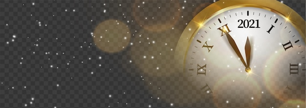 Banner web capodanno nero e dorato lucido. scheda con neve, riflessione e sfocato orologio tondo il carillon cremlino spasskaya torre sfondo scuro. illustrazione isolata per sito web