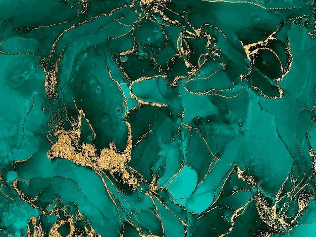 Sfondo acquerello nero e verde con glitter oro. spruzzata di inchiostro alcolico ad acquerello, vernice per texture a flusso liquido, carta digitale astratta di lusso con motivo artistico, pietra preziosa di malachite, carta da parati.