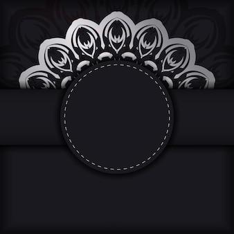 Modello di opuscolo di auguri nero con motivo greco
