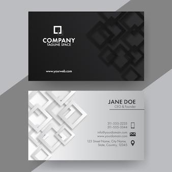 Design biglietto da visita nero e grigio con forme quadrate