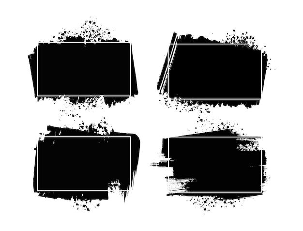 Collezione di banner grunge nero Vettore Premium