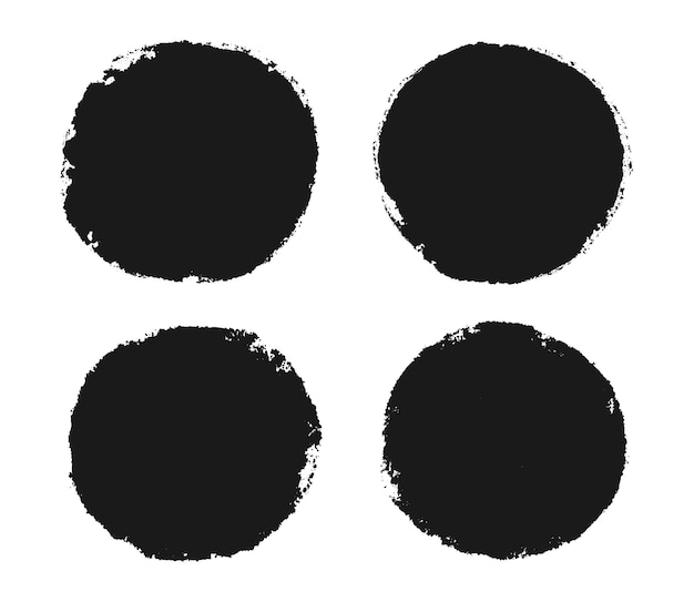 Cornici rotonde grunge nere