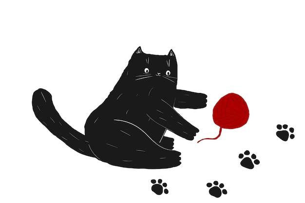 Gatto nero scarabocchio di halloween e gomitolo di lana gatto che gioca disegno a mano di animali domestici neri