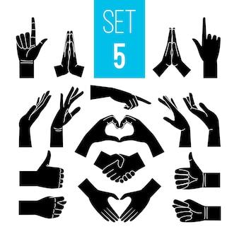 Gesti delle mani nere. icone della mano e del braccio, segni grafici di gesto, siluette gesticolanti della donna di vettore isolate