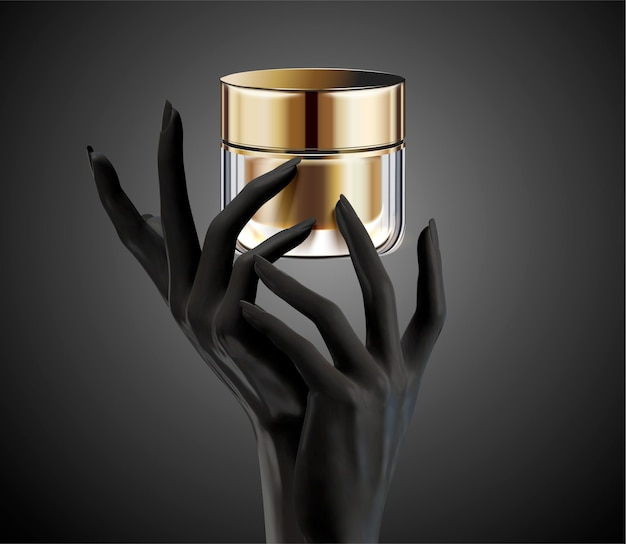 Mani nere che tengono pacchetto vasetto crema cosmetica isolato su priorità bassa nell'illustrazione 3d