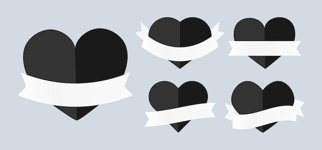 Cuori neri lucida con nastri bianchi impostati. cuore vuoto di forma diversa grande per la bandiera di san valentino. modello per testo offerta speciale di vendita, prezzo. moderno decorativo di lusso