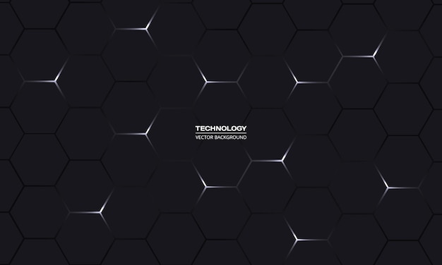 Fondo astratto di tecnologia esagonale nera Vettore Premium