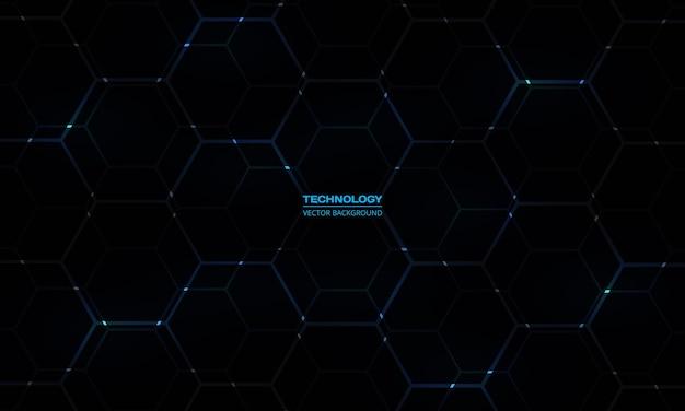 Sfondo tecnologico esagonale nero con lampi di energia blu