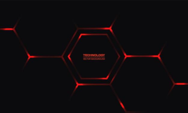 Sfondo nero tecnologia esagonale con lampi di energia luminosi rossi