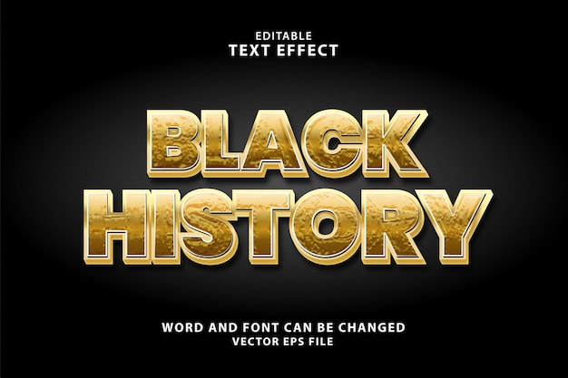 Effetto di testo eps colore oro 3d storia nera