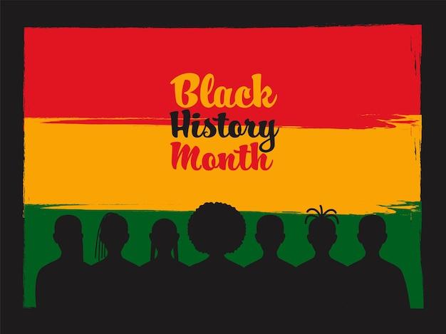 Concetto di mese di storia nera con gruppo femminile sagoma su sfondo effetto tratto pennello.