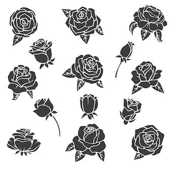 Illustrazioni nere di rose. silhouette di piante diverse.