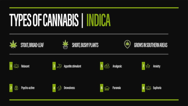 Poster informativo nero dei tipi di cannabis con infografica. indica