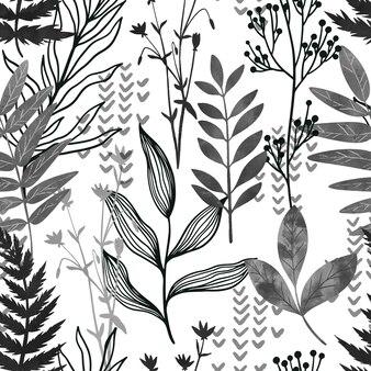 Disegnato a mano di flora selvatica senza cuciture di inchiostro nero