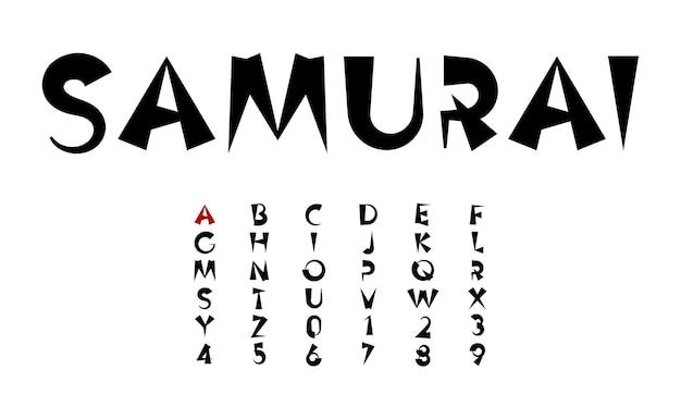 Inchiostro nero lettere vettoriali fumetto carattere grassetto concetto in stile giapponese e cinese per titolo asiatico for