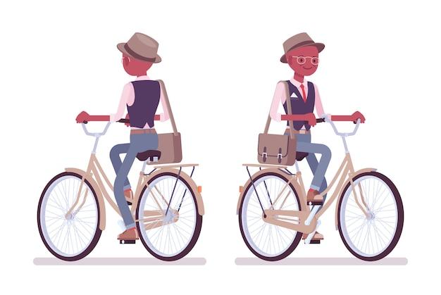 Bicicletta da portare del cappello e degli occhiali dell'uomo astuto astuto astuto nero. ragazzo sottile ed elegante con borsa a tracolla in sella a una bicicletta da città. stile cartoon illustrazione, frontale, vista posteriore