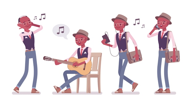 Uomo nero intelligente intelligente casual che indossa cappello, occhiali e musica