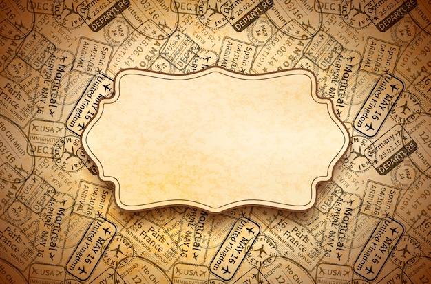 I timbri di gomma neri di visto di viaggio internazionale imprimono su vecchia carta con la retro struttura, fondo d'annata orizzontale