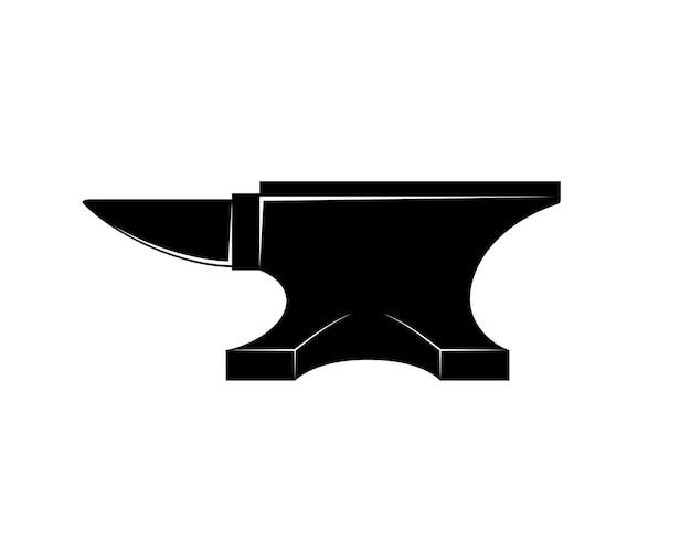 Icona di incudine di ferro nero isolato su bianco