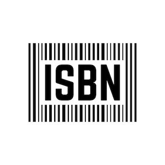 Cartello isbn nero con codice a barre. concetto di scansione, identificazione, chiave brochure, editoria internazionale, commercio. isolato su sfondo bianco. stile piatto tendenza moderna logo design illustrazione vettoriale