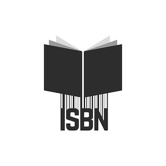 Isbn nero con codice a barre e libro. concetto di scansione, identificazione, chiave brochure, commercio, marketing, numerico. isolato su sfondo bianco. stile piatto tendenza moderna logo design illustrazione vettoriale