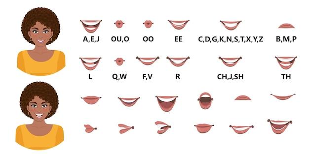 Set di animazione bocca signora nera.